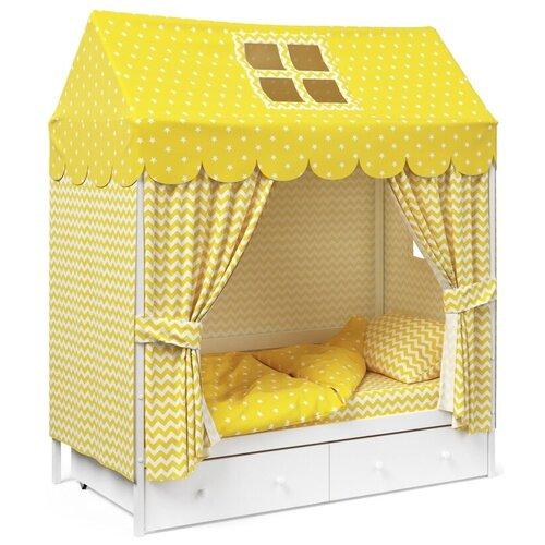 Детское постельное белье Капризун домик Желтый комплекты в кроватку капризун домик 11 предметов
