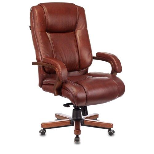 Компьютерное кресло Бюрократ T-9925WALNUT для руководителя, обивка: натуральная кожа, цвет: светло-коричневый компьютерное кресло бюрократ t 9927walnut low для руководителя обивка натуральная кожа цвет черный