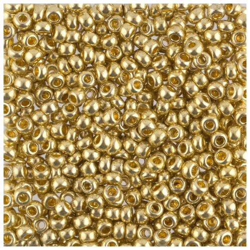 Купить Бисер круглый Gamma 6, 10/0, 2, 3 мм, 50 г, 1-й сорт, F398, золотой, Фурнитура для украшений