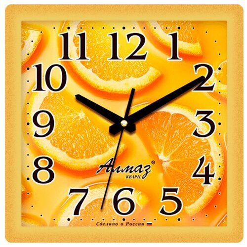 Часы настенные кварцевые Алмаз K24 желтыйЧасы настенные<br>