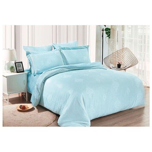 Постельное белье семейное Cleo Soft cotton 019-SC, жаккард голубой кпб семейное голубой попугай сирень постельное белье с рисунком