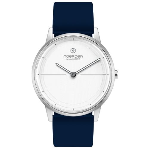 Гибридные смарт-часы Noerden MATE2, цвет циферблата белый, цвет ремешка синий