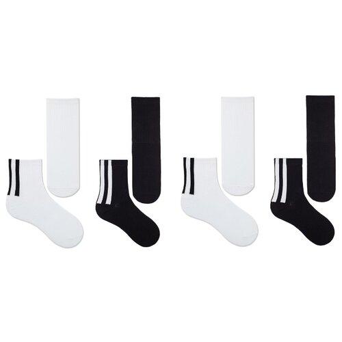 Купить Носки НАШЕ комплект 4 пары размер 20 (18-20), черный/белый