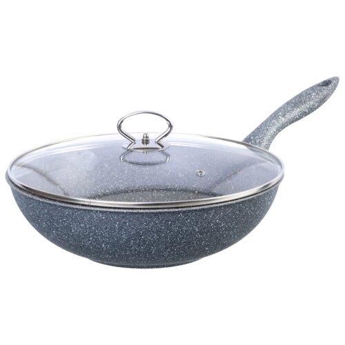 Сковорода-вок Elan gallery Мрамор 120177 28 см с крышкой, серый сковорода d 24 см kukmara кофейный мрамор смки240а