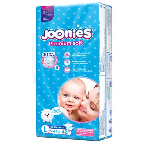 Купить Joonies подгузники Premium Soft L (9-14 кг) 42 шт., Подгузники