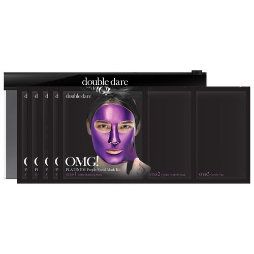 Double Dare трехкомпонентный комплекс масок OMG! Platinum Purple Глубокое увлажнение и релакс, 31 мл, 5 шт.
