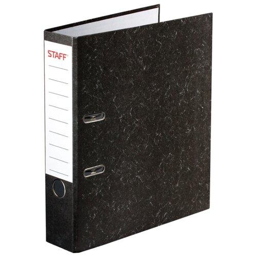 STAFF Папка-регистратор с мраморным покрытием без уголка, А4, 70 мм черный папка на 2 х кольцах galaxy а4 салатовая