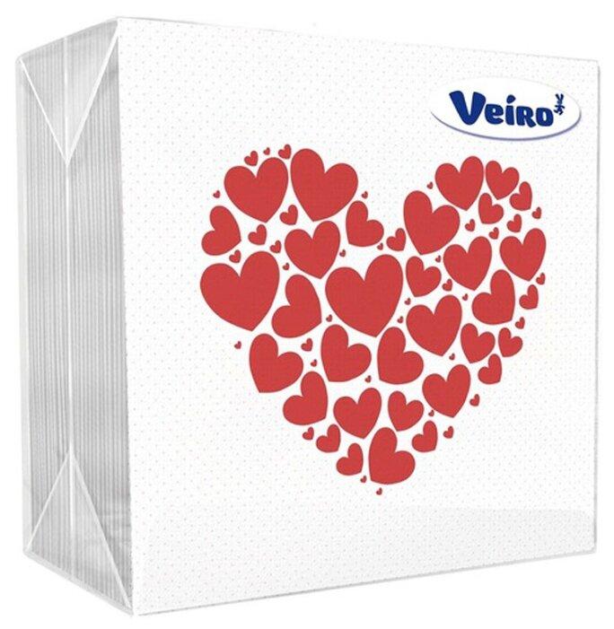 Салфетки бумажные Veiro, 1 слойн., 24*24см, белые, рисунок