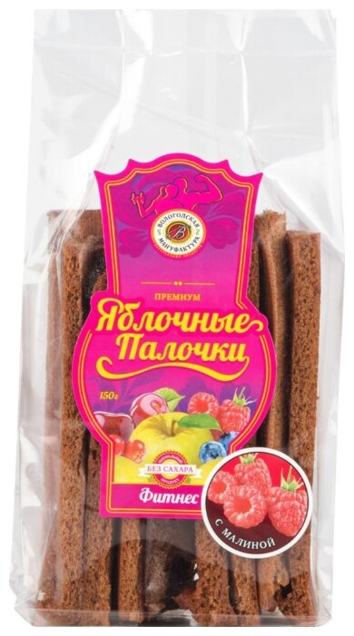 Пастила Вологодская Мануфактура яблочные палочки без сахара с малиной, 150 г