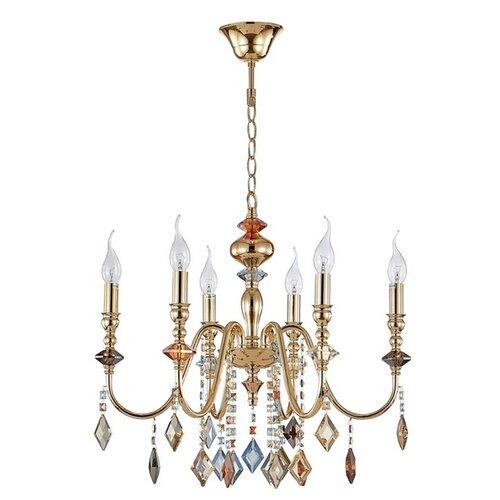 Люстра Crystal Lux MERCEDES SP6 GOLD/COLOR, E14, 360 Вт люстра ideal lux windsor sp6 e14 320 вт