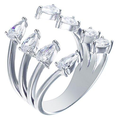 ELEMENT47 Широкое ювелирное кольцо из серебра 925 пробы с кубическим цирконием R-VA0072_KO_001_WG, размер 16.5