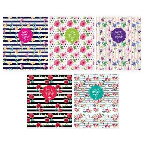 Купить ArtSpace Упаковка тетрадей Цветы. Стильные полосы Т48к_11939, 10 шт./5 дизайнов, клетка, 48 л., Тетради