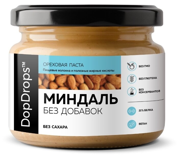 DopDrops Паста ореховая Миндаль без добавок стекло