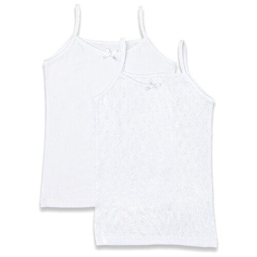 Купить Майка Button Blue 2 шт., размер 128-134, белый, Белье и купальники