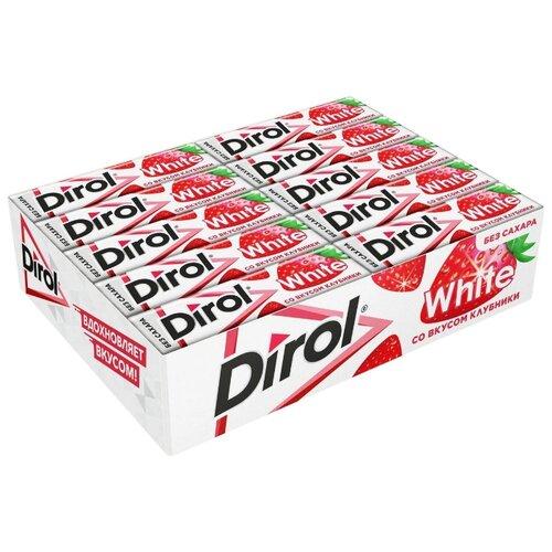 Жевательная резинка Dirol Cadbury White клубничная поляна без сахара, 30 шт*13.6 г