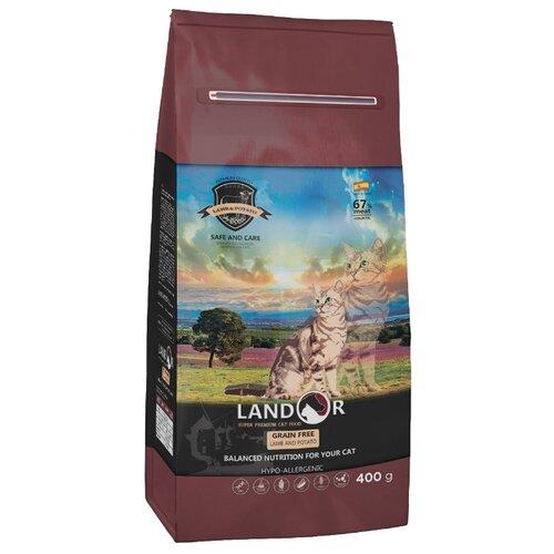 Корм для кошек Landor Grain Free Hairball & Weight Control Lamb & Potato 0.4 кг фото