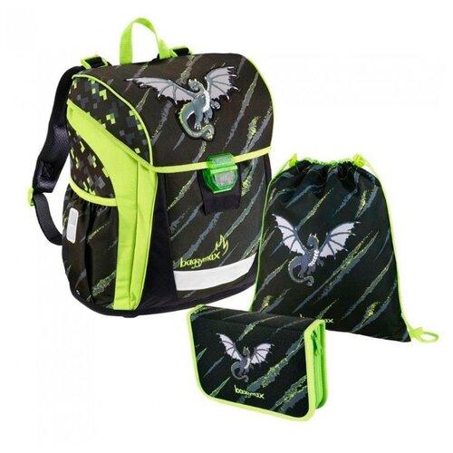 Купить Step By Step Ранец BaggyMax Niffty Dragon 3 предмета (139030), черный/салатовый, Рюкзаки, ранцы