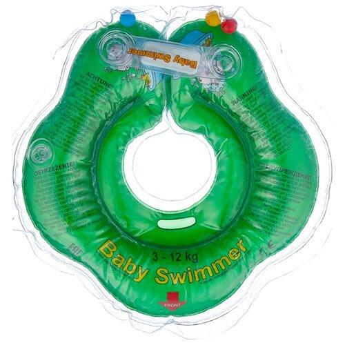 Круг на шею Baby Swimmer 0m+ (3-12 кг) с погремушкой зеленый