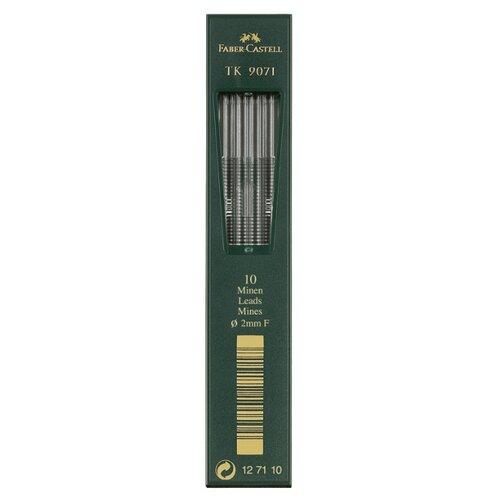 Фото - Faber-Castell Грифели для цанговых карандашей TK 9071, 2,0 мм, F, 10 штук черный канцелярия faber castell грифели для механических карандашей polymer 0 7 мм hb 12 шт
