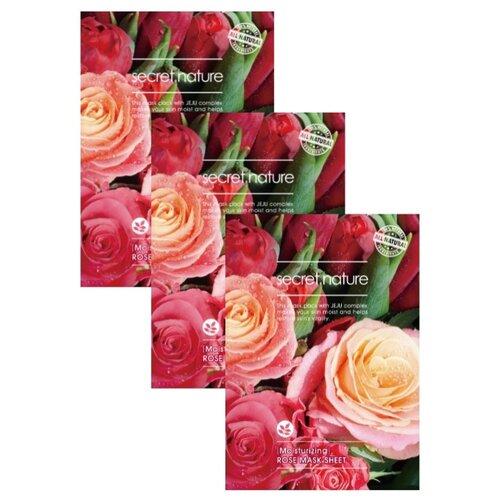 Купить Secret Nature Увлажняющая тканевая маска для лица с экстрактом розы, 25 г, 3 шт.