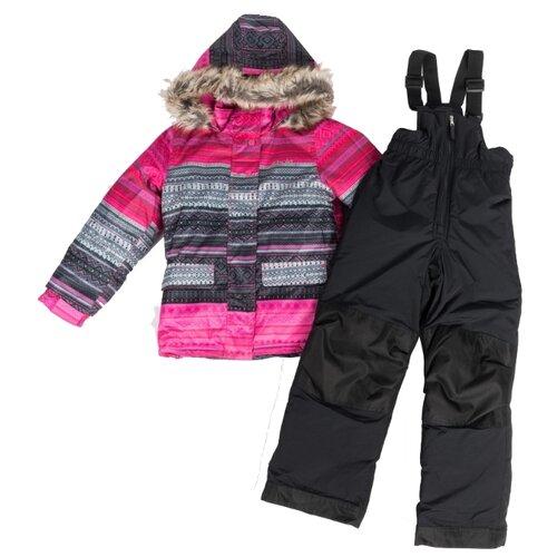 Купить Комплект с полукомбинезоном Buki F19M706EF размер 112, розовый/черный, Комплекты верхней одежды
