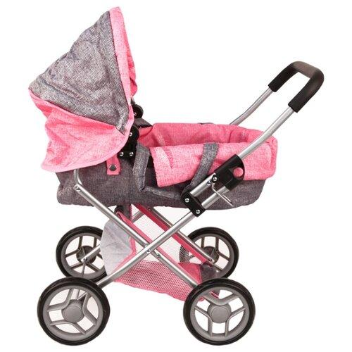 Купить Коляска-люлька Melobo / Melogo 9369 розово-серый, Коляски для кукол