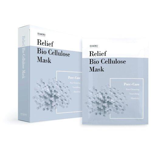 ELMOLU тканевая маска для ухода за порами Relief Bio Cellulose Mask Pore-Care, 28 г, 5 шт.