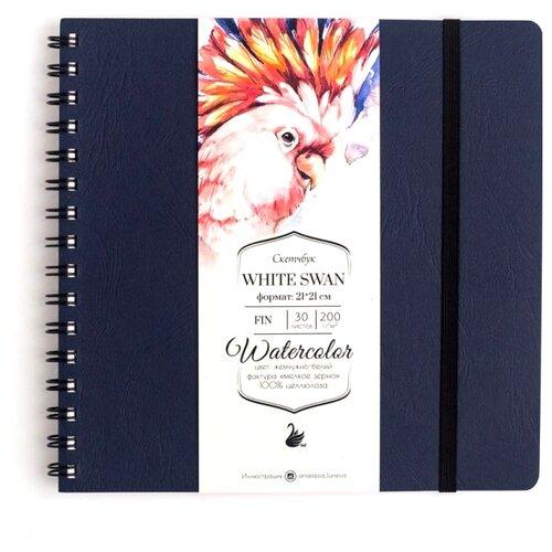 Купить Скетчбук для акварели Малевичъ White Swan 21 х 21 см, 200 г/м², 30 л. синий, Альбомы для рисования