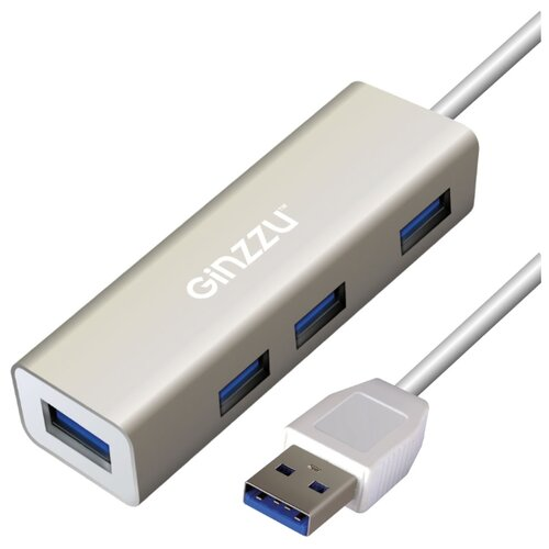 USB-концентратор Ginzzu GR-517UB, разъемов: 4, серебристый