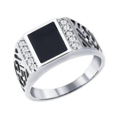 SOKOLOV Печатка из серебра с эмалью с фианитами 94010713, размер 21 по цене 2 590
