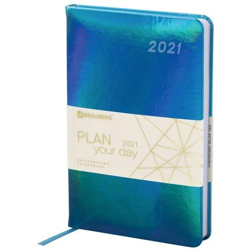 Ежедневник BRAUBERG Holiday датированный на 2021 год, искусственная кожа, А5, 168 листов, бирюзовый, Ежедневники, записные книжки  - купить со скидкой