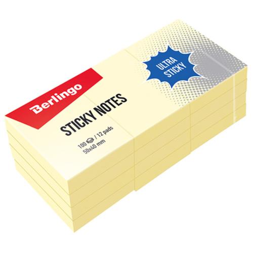 Купить Berlingo Самоклеящийся блок Ultra Sticky 5 x 4 см, 12 блоков по 100 л (LSn_39000) желтый, Бумага для заметок
