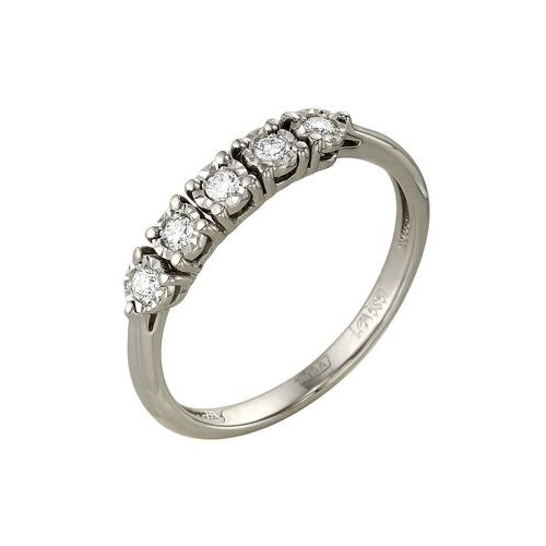 Master Brilliant Кольцо с 5 бриллиантами из белого золота 1-104-914, размер 18 мастер бриллиант кольцо с 32 бриллиантами из белого золота 1 104 867 размер 15 5