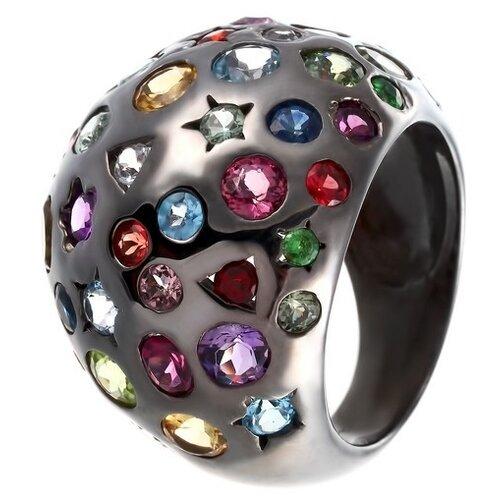 JV Серебряное кольцо с сапфиром, топазом, цитрином, гранатом, родолитом, цаворитом, аметистом, перидотом, турмалином 3519-5L-SM-AM-BT-CT-GRB-PD-RH-TU-TV-BLK, размер 18