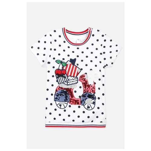 Футболка playToday, размер 74, белый/красный платье oodji ultra цвет красный белый 14001071 13 46148 4512s размер xs 42 170