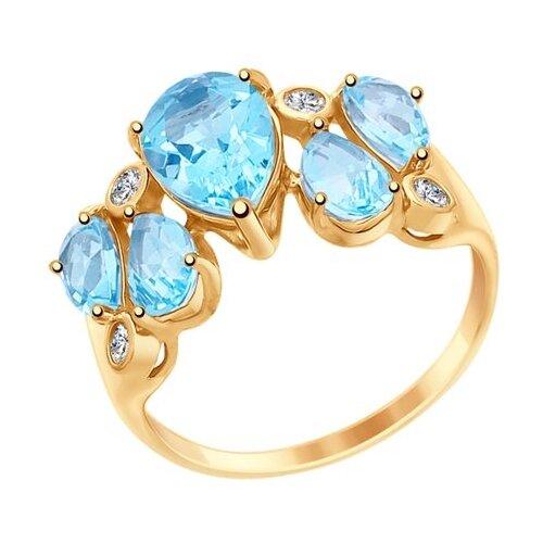 SOKOLOV Кольцо из золота с топазами и фианитами 714990, размер 17 по цене 19 995