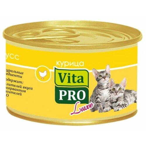 Корм для кошек Vita PRO 1 шт. Мяcной мусс Luxe для котят, курица 0.085 кг корм для кошек vita pro мяcной мусс luxe для стерилизованных кошек свинина 0 085 кг 1 шт