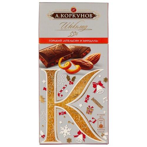 Шоколад Коркунов горький с апельсином и миндалем, 90 г