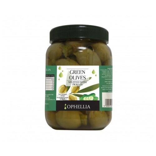 Ophellia Зеленые оливки фаршированные соленым огурцом, пластиковая банка 500 г