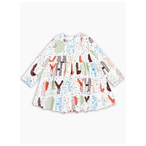 Платье Веселый Малыш размер 98, белый/оранжевый/коричневый/голубой