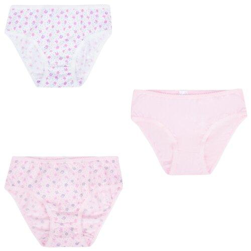 Купить Трусики Leader Kids 3 шт., размер 134-140, белый/розовый, Белье и купальники