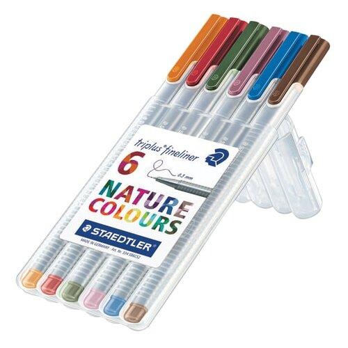 Staedtler набор капиллярных ручек Triplus Fineliner, 6 шт, натуральные цвета природы (334SB6CS2) staedtler набор капиллярных ручек triplus 15 цветов staedtler