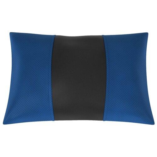 Автомобильная подушка, поясничный подпор Экокожа. Середина: чёрная гладкая экокожа. Боковины: синяя экокожа с перфорацией.