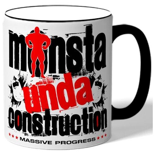 Кружка с цветной ручкой в подарок спортсмену Monsta unda construction - гири, бодибилдер