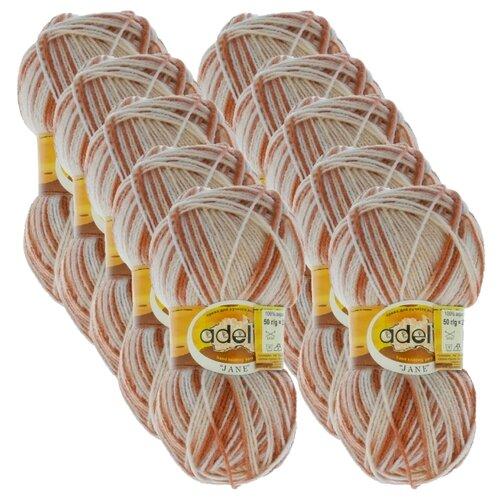 Купить Пряжа Adelia Jane, 100 % акрил, 50 г, 227 м, 10 шт., 18 св.бежевый-коричневый