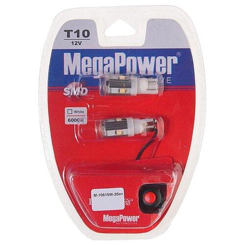 Фото - Лампа автомобильная светодиодная MegaPower 10615W-2блт W5W (T10) 12V 10W 2 шт. 2pcs t10 w5w 80w cree xqb chip led hid