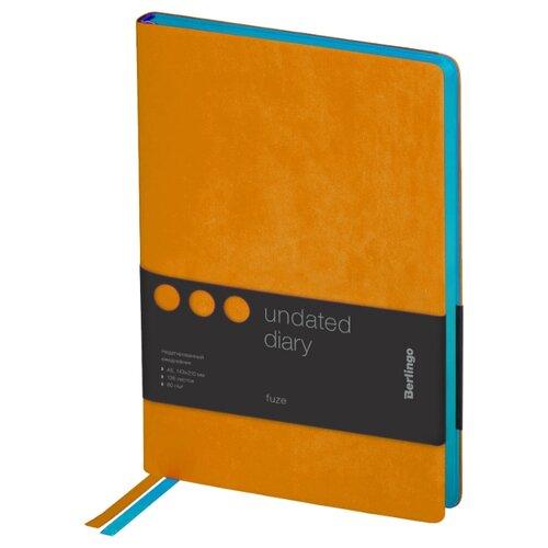 Купить Ежедневник Berlingo Fuze недатированный, искусственная кожа, А5, 136 листов, оранжевый, Ежедневники, записные книжки
