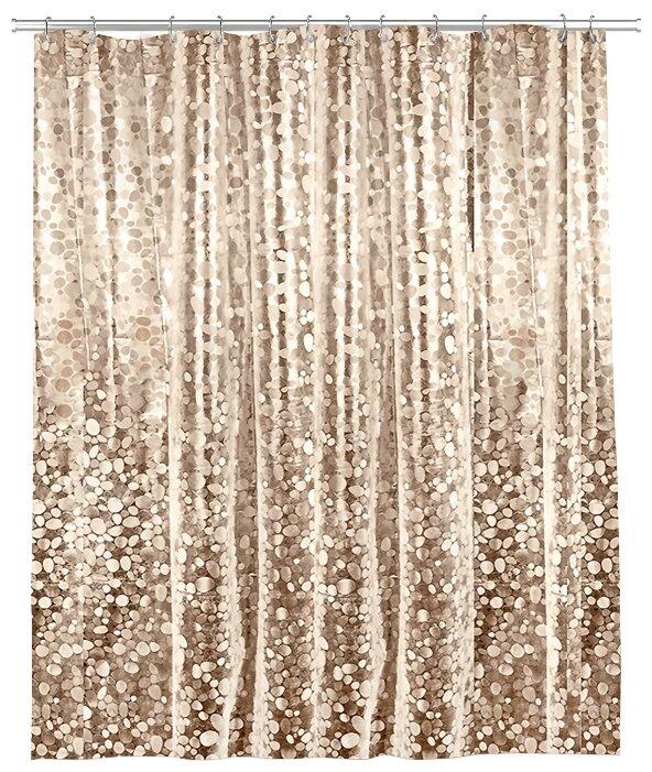 Купить Штора для ванной комнаты с кристал. эффектом, EVA, 180*180 см, STONES, цвет золотой, VALIANT по низкой цене с доставкой из Яндекс.Маркета (бывший Беру)