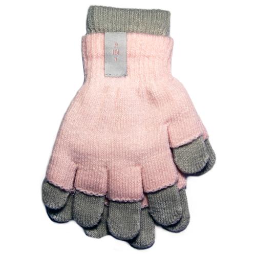 Купить Перчатки RAK R-072 размер 18, светло-розовый/серый, Перчатки и варежки