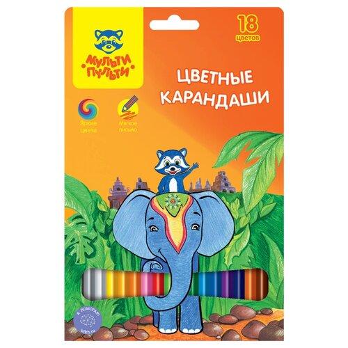 Купить Мульти-Пульти Карандаши цветные Енот в Индии, 18 цветов (CP_10748), Цветные карандаши